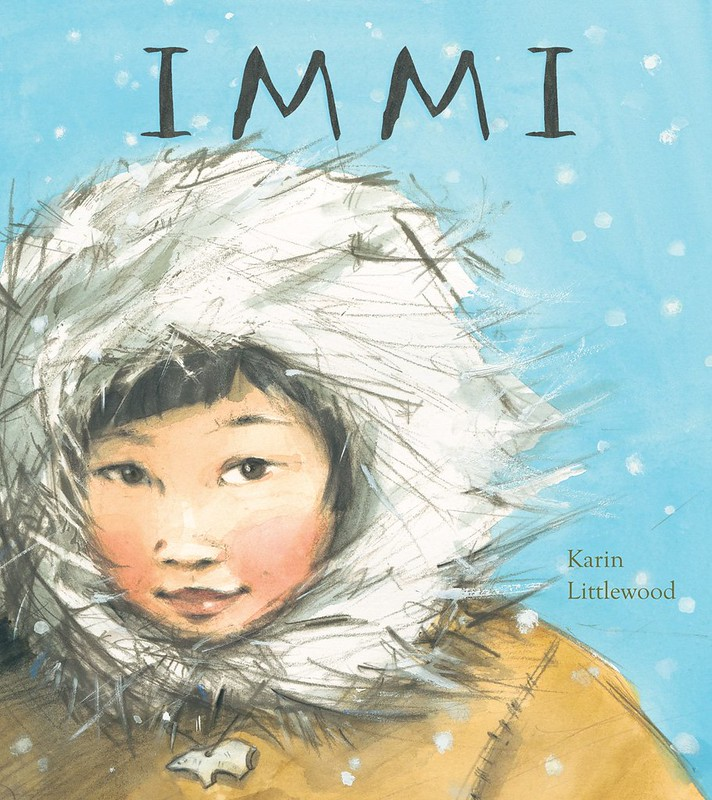 Cover of Immi: a young girl is wearing a thick hooded coat is looking forward, with a snowy background behind her.