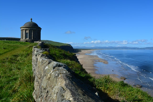 View over the seaside at Mussenden temple