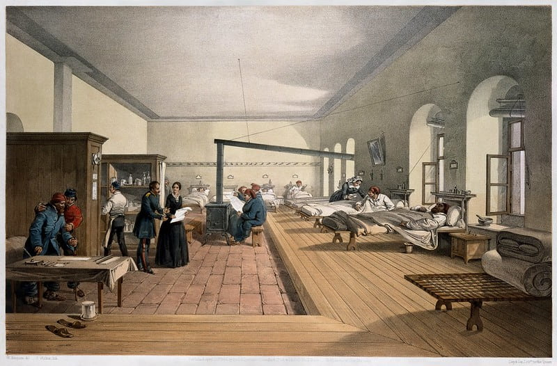 Illustration of the inside of an old hospital.