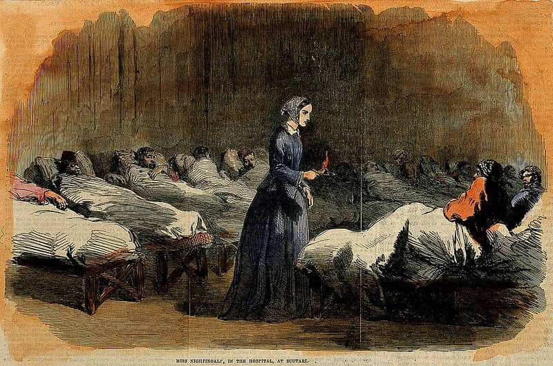 Illustration of Florence Nightingale tending to the sick.