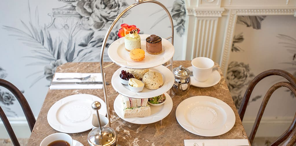 Delicious treats at a table for two for afternoon tea.