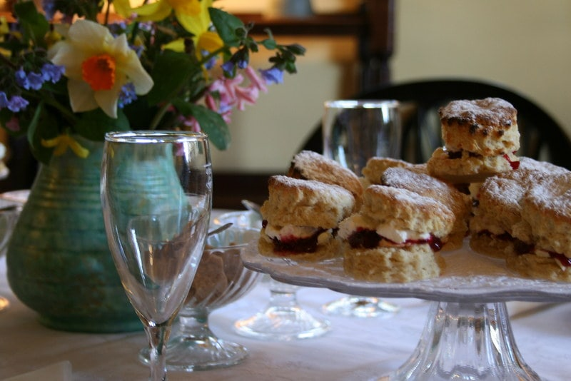A platter of jam and cream scones at afternoon tea at Britons Arms, Norwich.