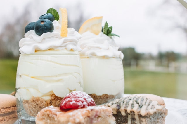 Sweet treats for afternoon tea overlooking the golf course.