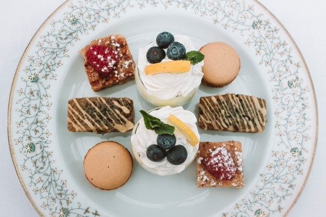 Pretty plate of cakes and pastries.