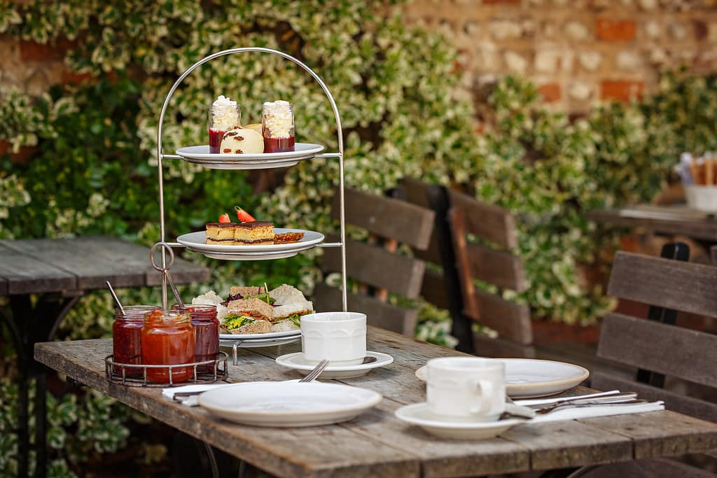 Family-friendly afternoon tea for two in the garden at Byfords.