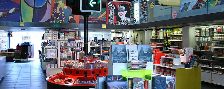 The London Transport Museum Shop interior, showing off wares like books and other memerobilia.