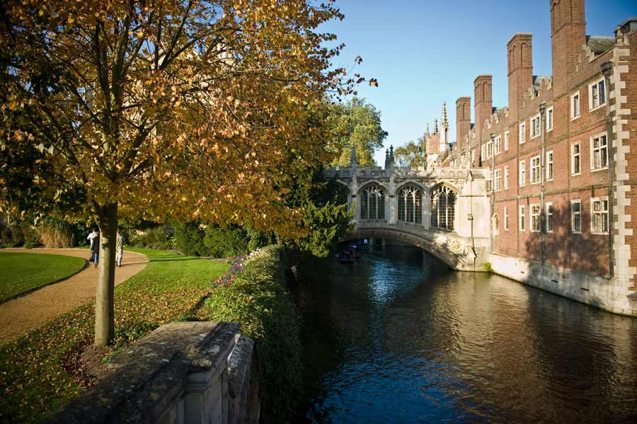 Three images depicting a Cambridge college, the Bridge of Sighs in Oxford, and a man punting in Cambridge on the River Cam.