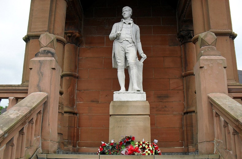 Monument of Robert Burns in Scotland.