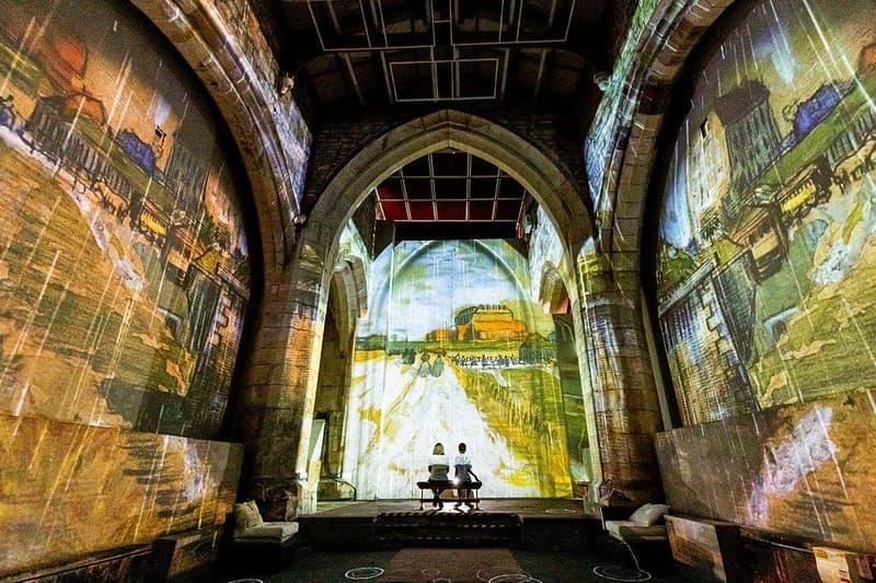 Van Gogh's art digitally projected to the walls of All Saints' Church.