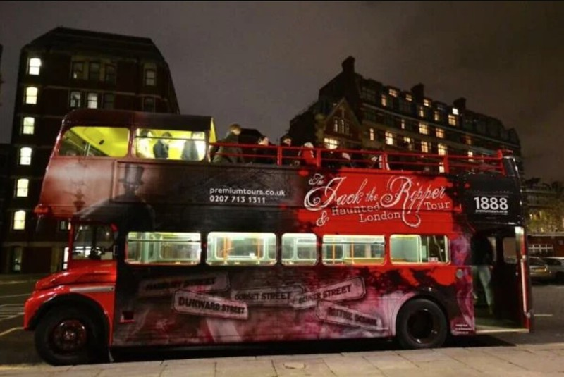 The Jack the Ripper vintage open top tour bus that will take you round for the night.