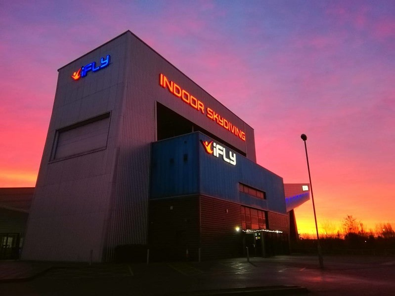iFly centre at sunset.