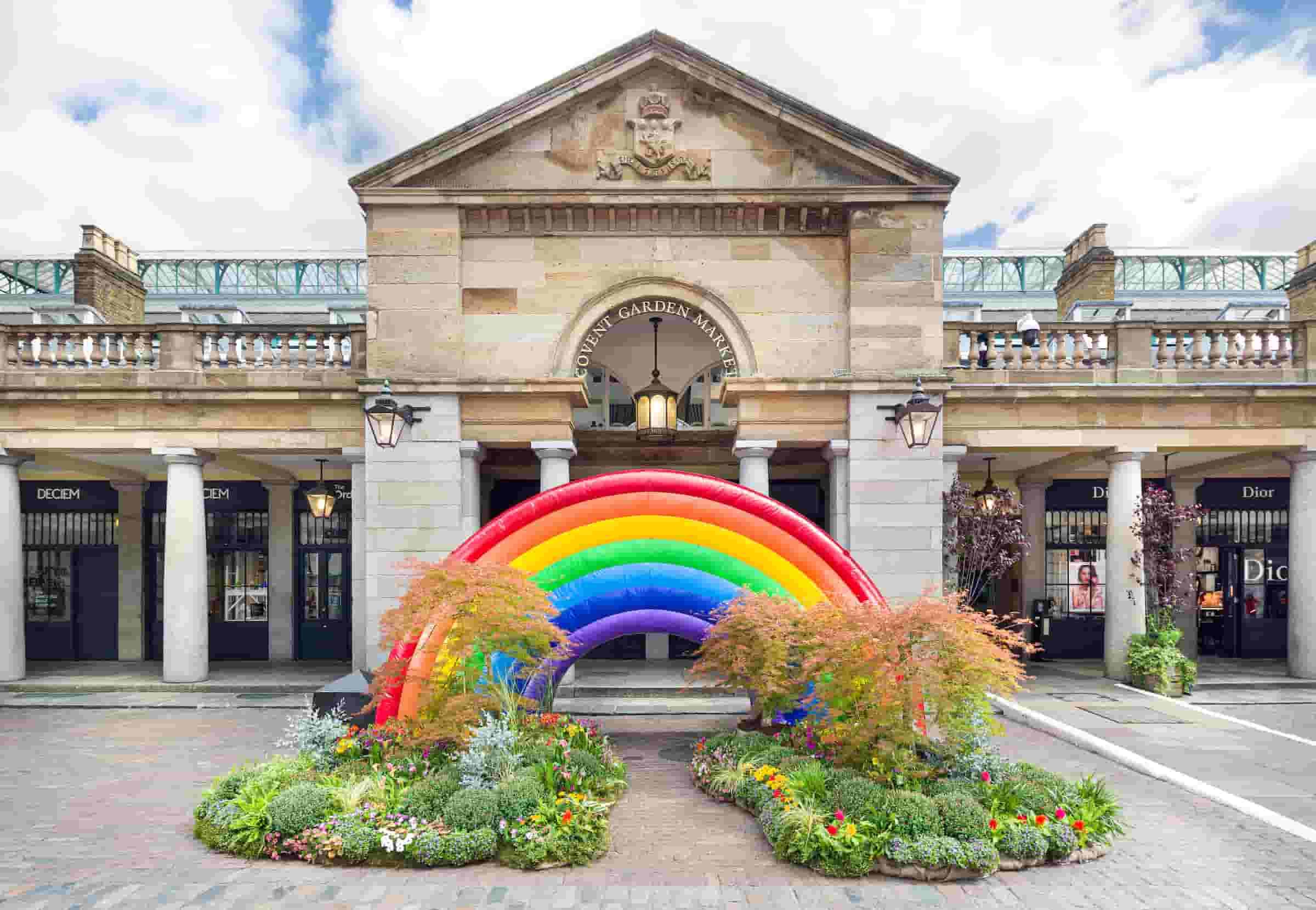 Giant rainbow in Covent Garden