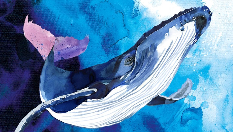 Painting of a big blue whale swimming underwater in the ocean.