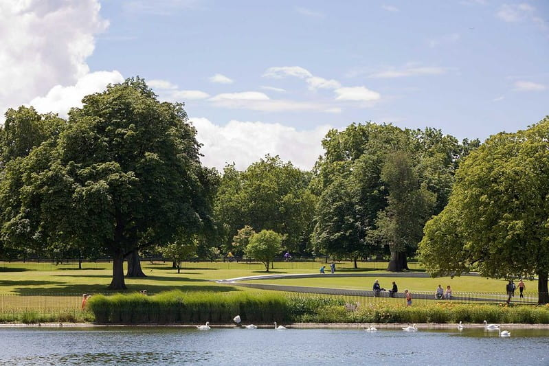 View across the lake at Hyde Park.