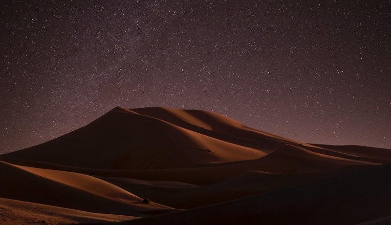 Starry night in the desert.