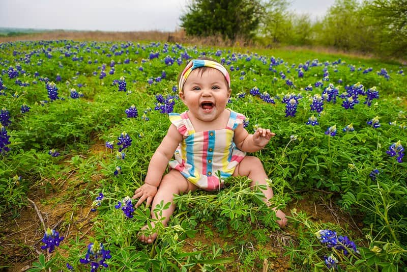Baby girl sat smiling in a field of purple flowers.