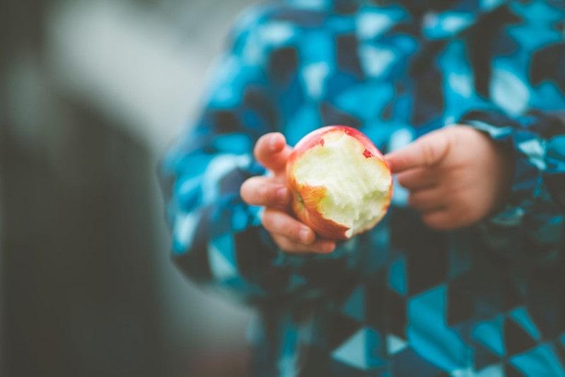Little kid in a blue jacket holding a half-eaten apple.