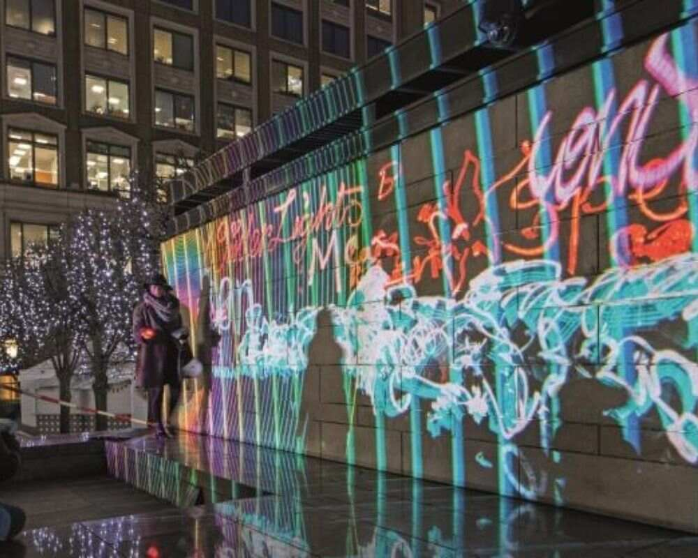 Canary Wharf winter lights for the festival.