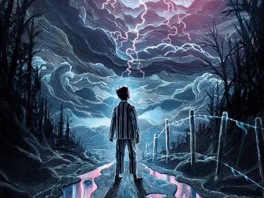 Poster for Ocean at the End of the Lane showing a boy stood in front of an electric-looking sky.