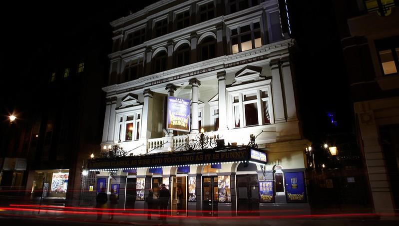 Duke of York's Theatre exterior at night.