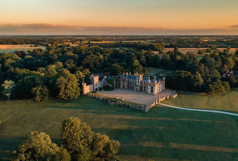 An aerial view of Knebworth House and Gardens.