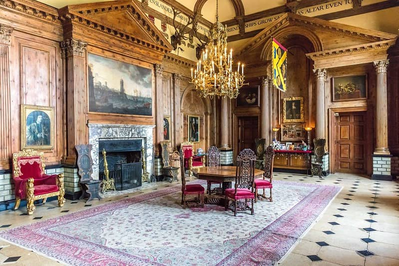 An ornate room inside Knebworth House.
