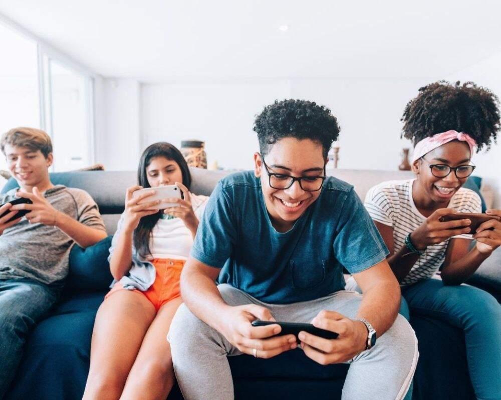 Teens on phones.