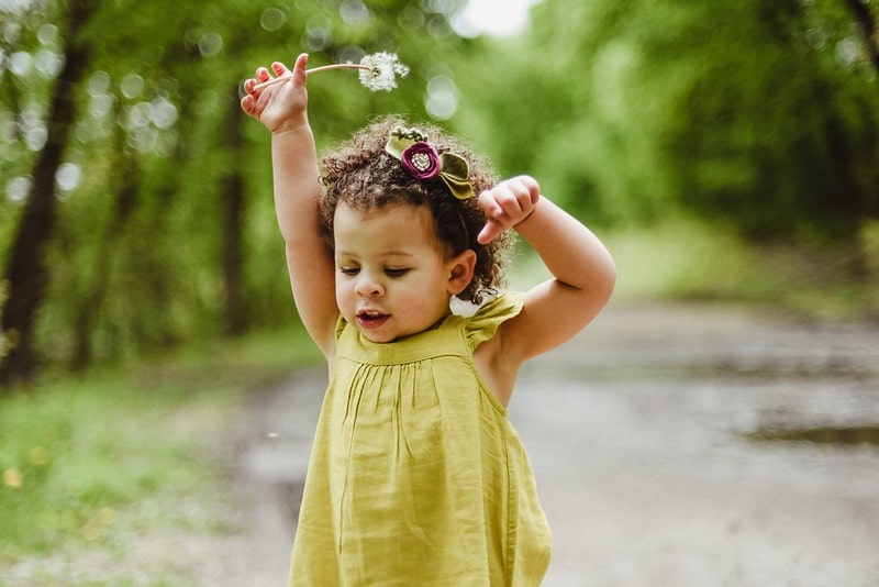 Little girl in a green dress holding a flower in the forest.