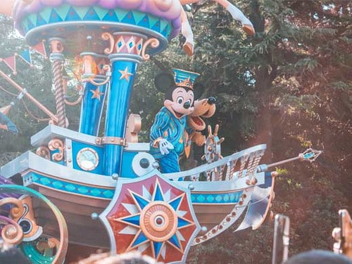The Mickey Mouse float at the Disneyland parade.