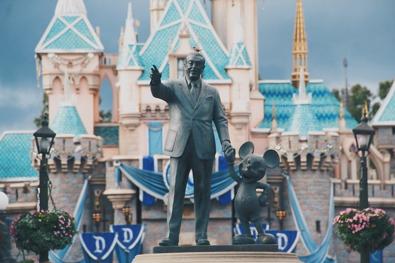 Statue of Walt Disney and Mickey Mouse at Disneyland.