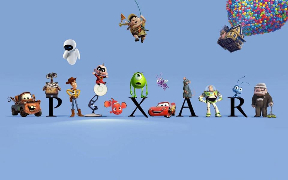 The Pixar logo with characters standing around it.