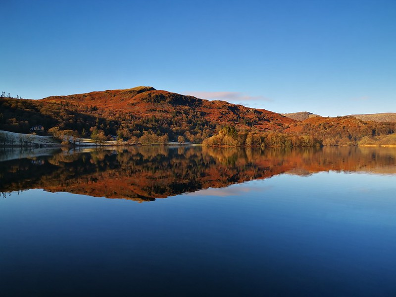 Reflections on a lake in the Lake District.