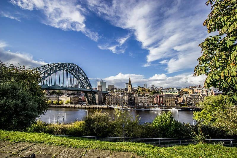 The view of the Swing Bridge over the River Tyne in Newcastle.