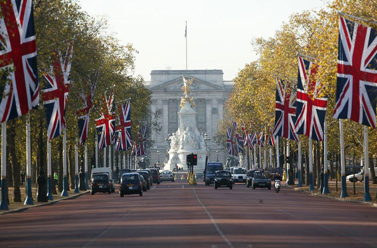 Buckingham Palace at the end of a tree-lined street.