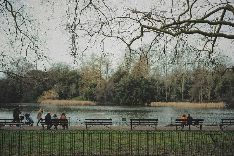 A row of benches facing the water at Battersea Park on a cloudy day.