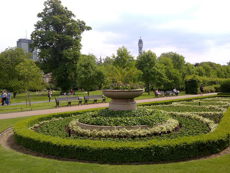 Garden feature of a circular topiary surrounding a stone fountain.
