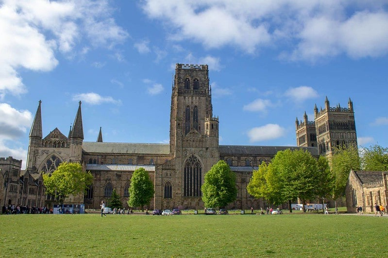 A view of the Romanesque Durham Cathedral.