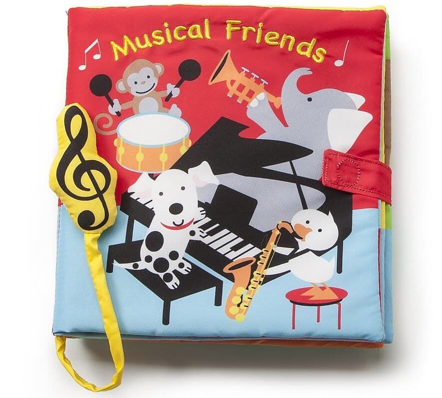 Cover of Musical Friends: four animals are playing different musical instruments in a room with red walls and a light blue floor.