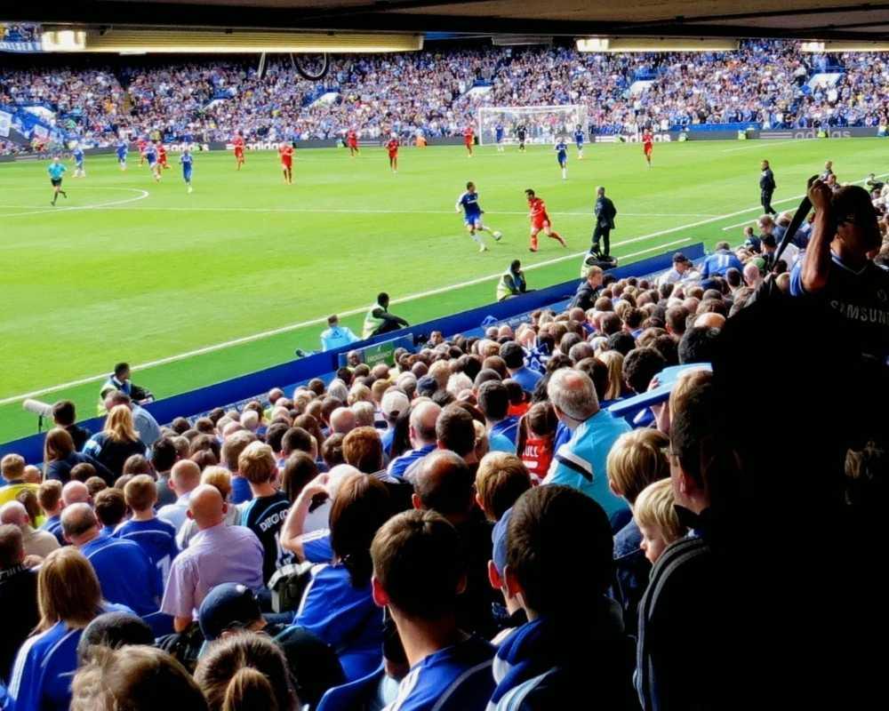 Chelsea FC playing at Stamford Bridge.