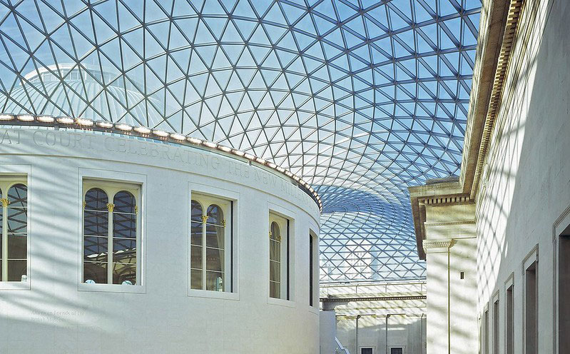 The British Museum's iconic geometric glass ceiling.
