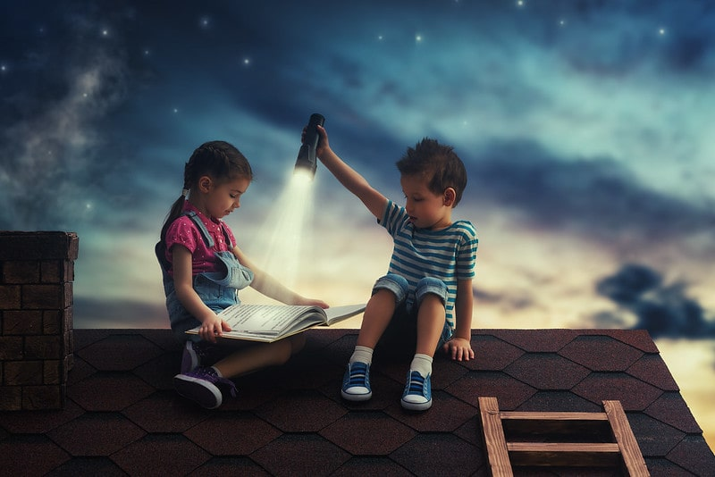 Two kids sat on a rooftop reading a booking with a flashlight under a starry night sky.