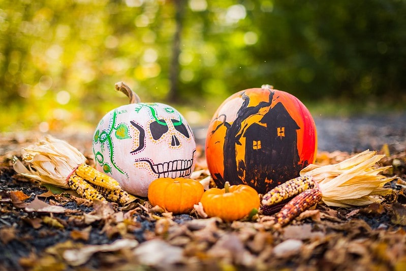 Two pumpkins painted with Halloween pictures on them. One has a skeleton face, the other a haunted house.