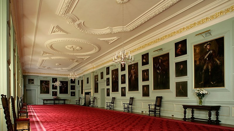 The Great Gallery at the Palace of Holyroodhouse lined with portraits by Jacob de Wet II.