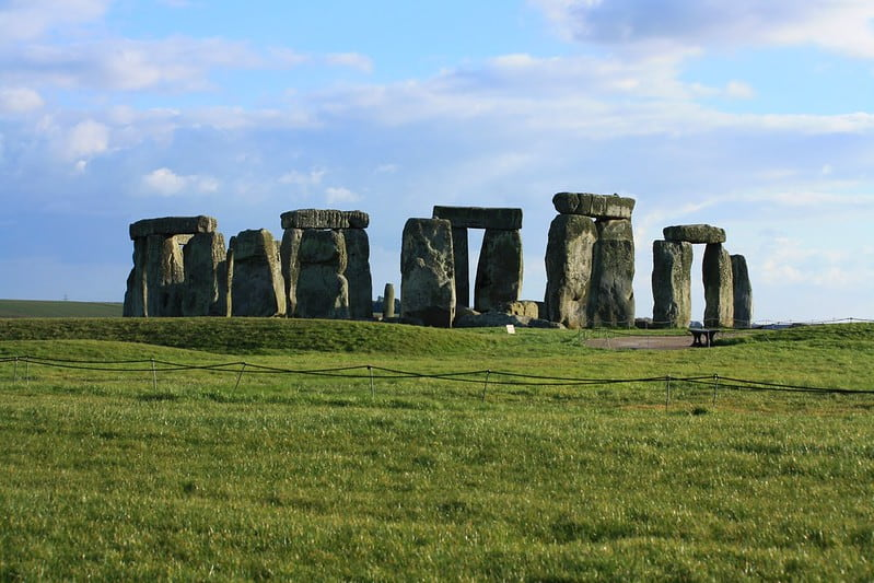 Stonehenge on a clear sunny day.
