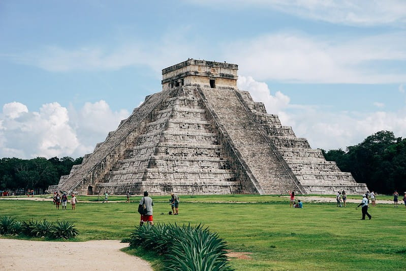 A Mayan temple with its pyramid-like structure.