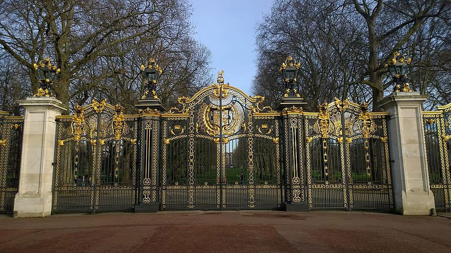 Gold embellished gates at Green Park.