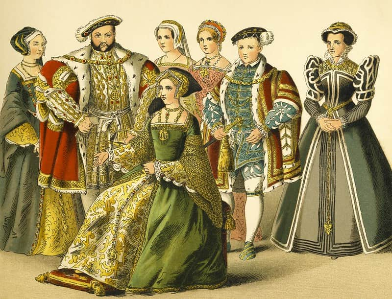 Portrait of Henry VIII, his five wives and his son.