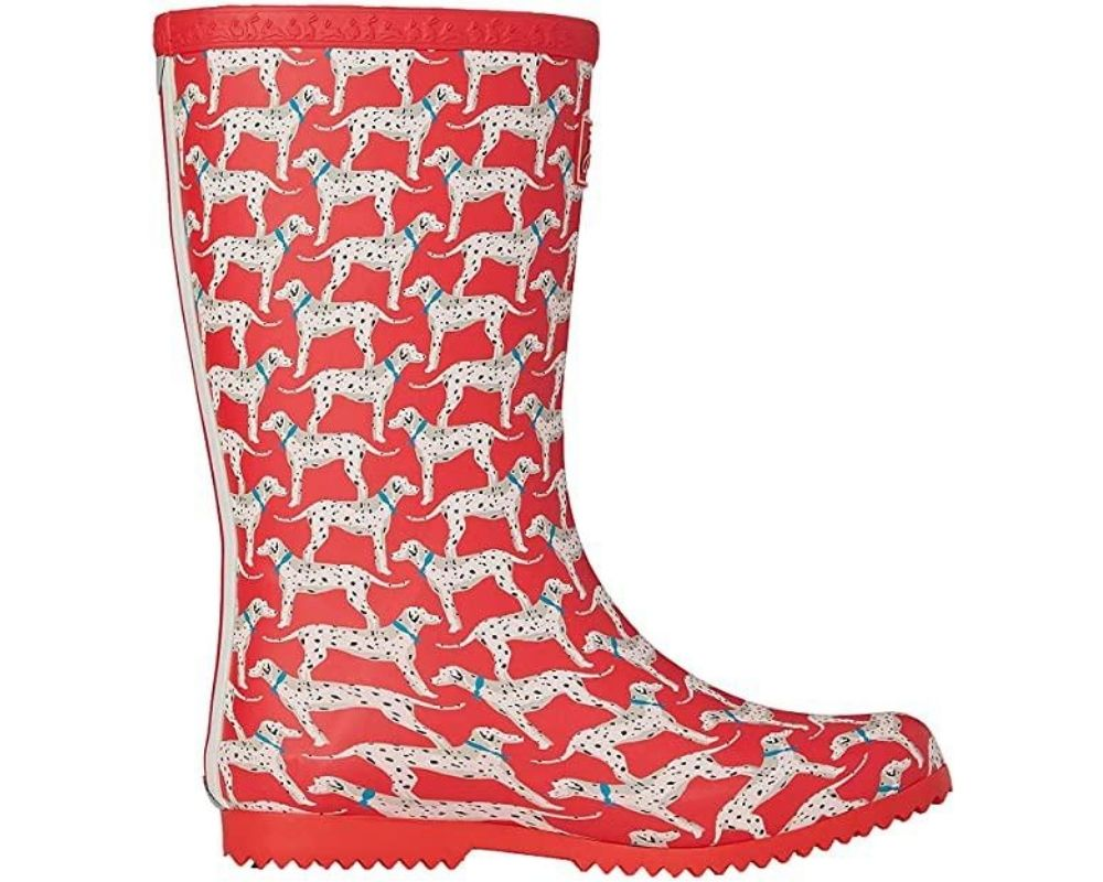 Red Joules Roll Up Kids Wellies with a Dalmation print.