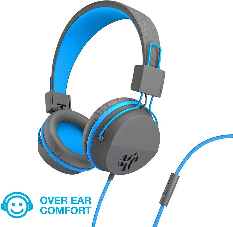 Blue and grey over-ear headphones.