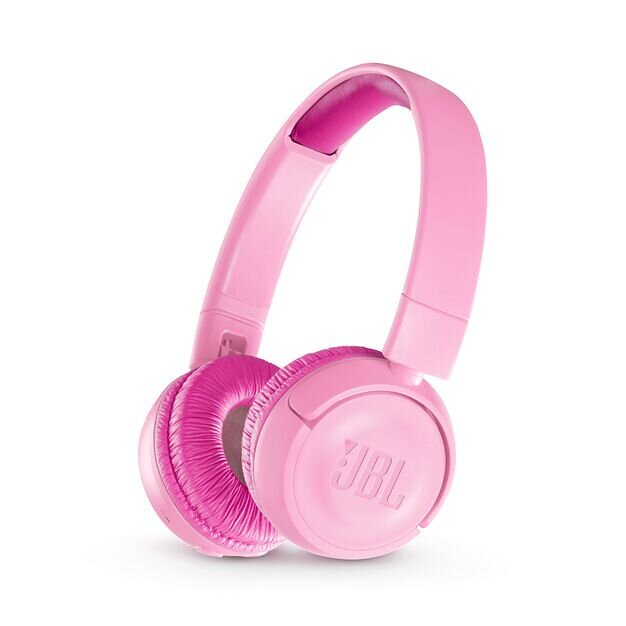 Pink JBL wireless over-ear headphones.